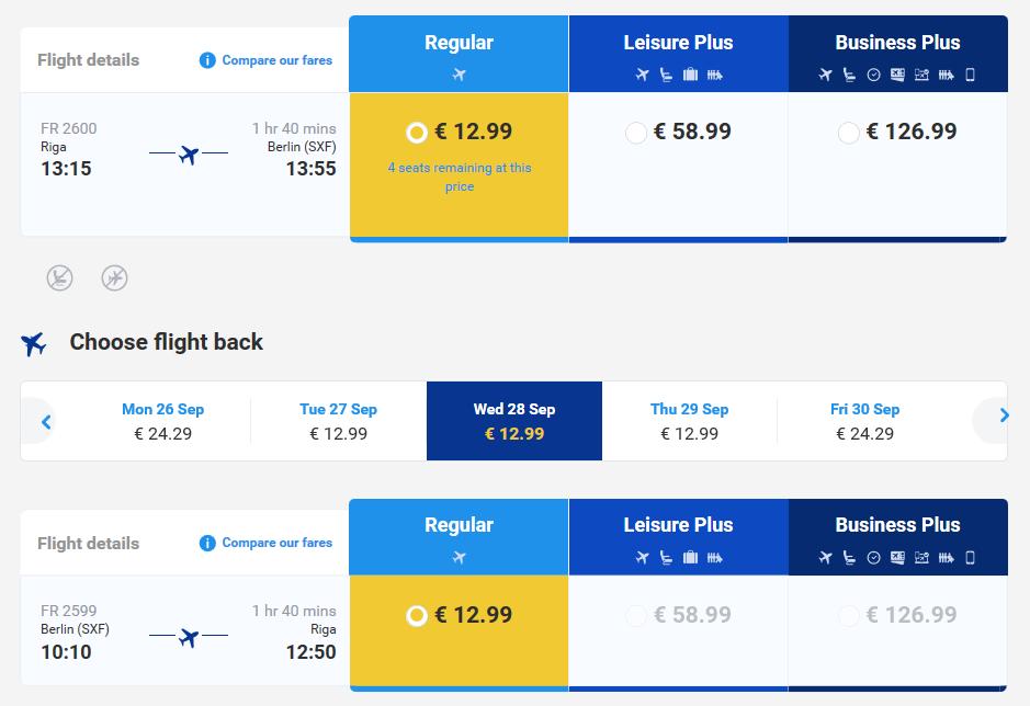Из Риги в Берлин от Ryanair 1900 рублей