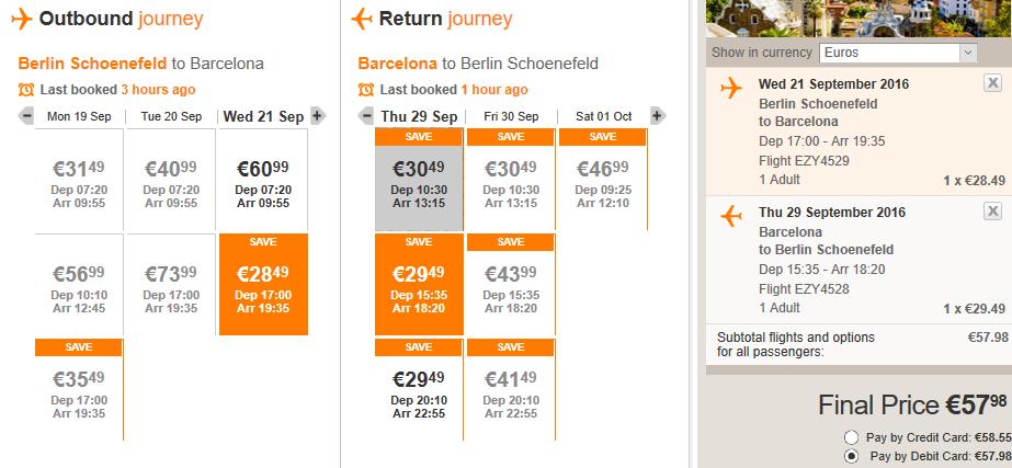 Распродажа easyJet 251000 билетов с с 31 августа по середину декабря по Европе от 550 рублей