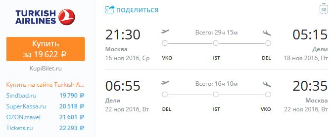 Turkish Airlines - из Москвы в Индию за 19600 рублей туда-обратно