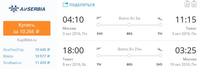 Airserbia - Из Москвы в Черногорию за 10200 рублей туда-обратно
