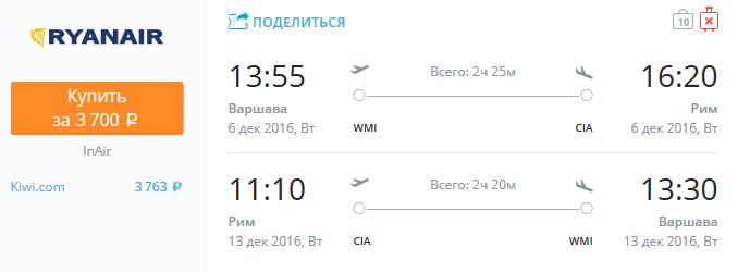 Ryanair - из Варшавы в Рим за 3700 рублей туда-обратно в декабре