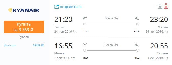 Ryanair из Таллина в Милан за 3700 рублей в ноябре-декабре