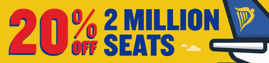 2 миллиона мест со скидкой 20% распродажа от Ryanair