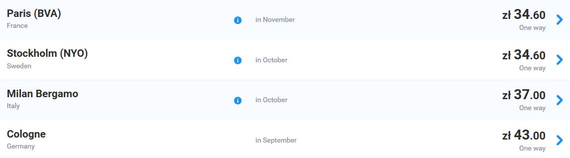 Ryanair - распродажа билетов (от 150 рублей) на маршруты в и из Польши