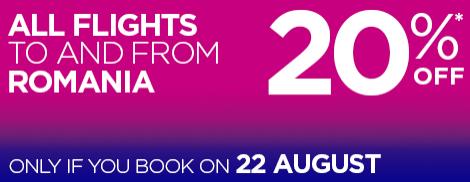 Wizz Air - скидка 20% на полеты в и из Румынии, только сегодня